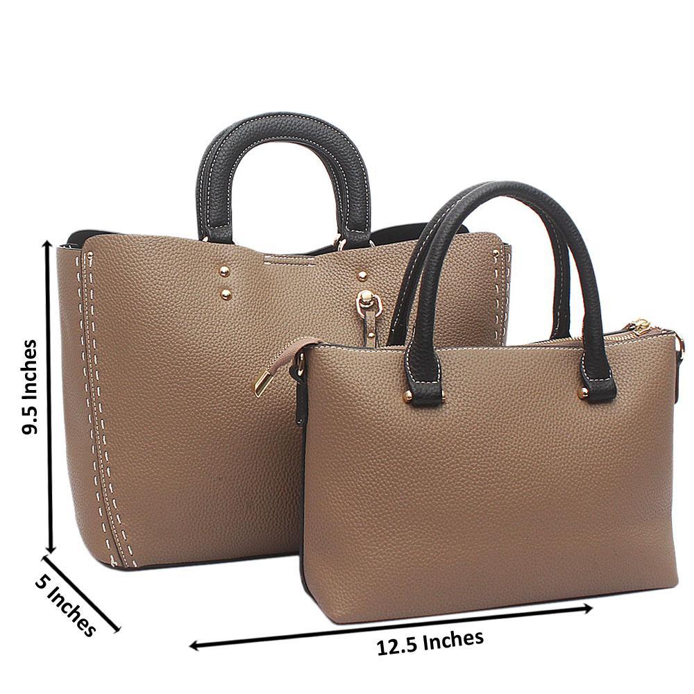 Khaki Black 2 in 1 Avalon Leather Handbag