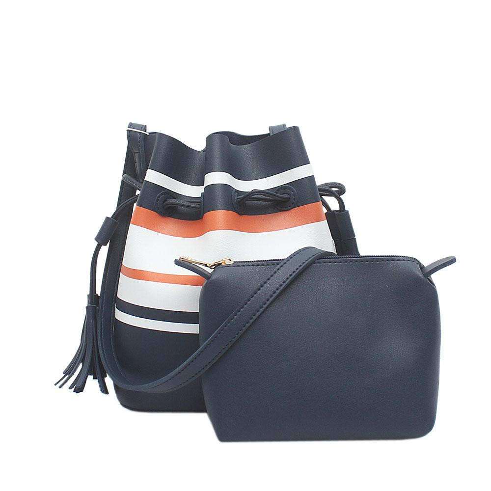 London Style Navy Orange White Leather Shoulder Bag