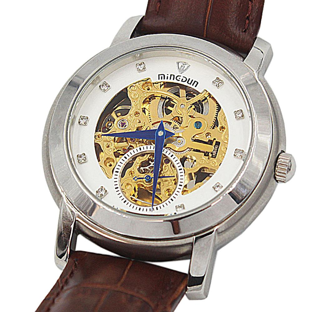 Shanghai Marcello White Face Brown Leather Automatic Skeletal Watch