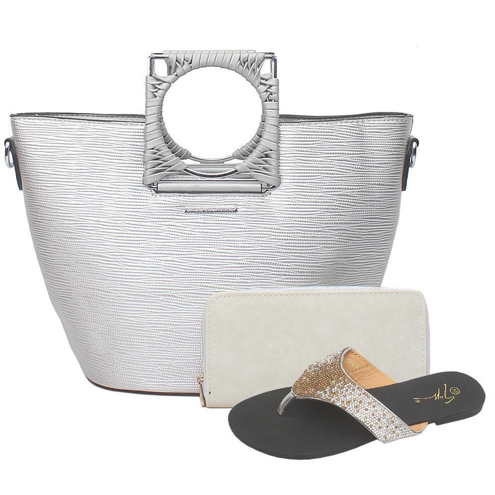 Astandard Silver Leather Top Handle Bag Wt Purse
