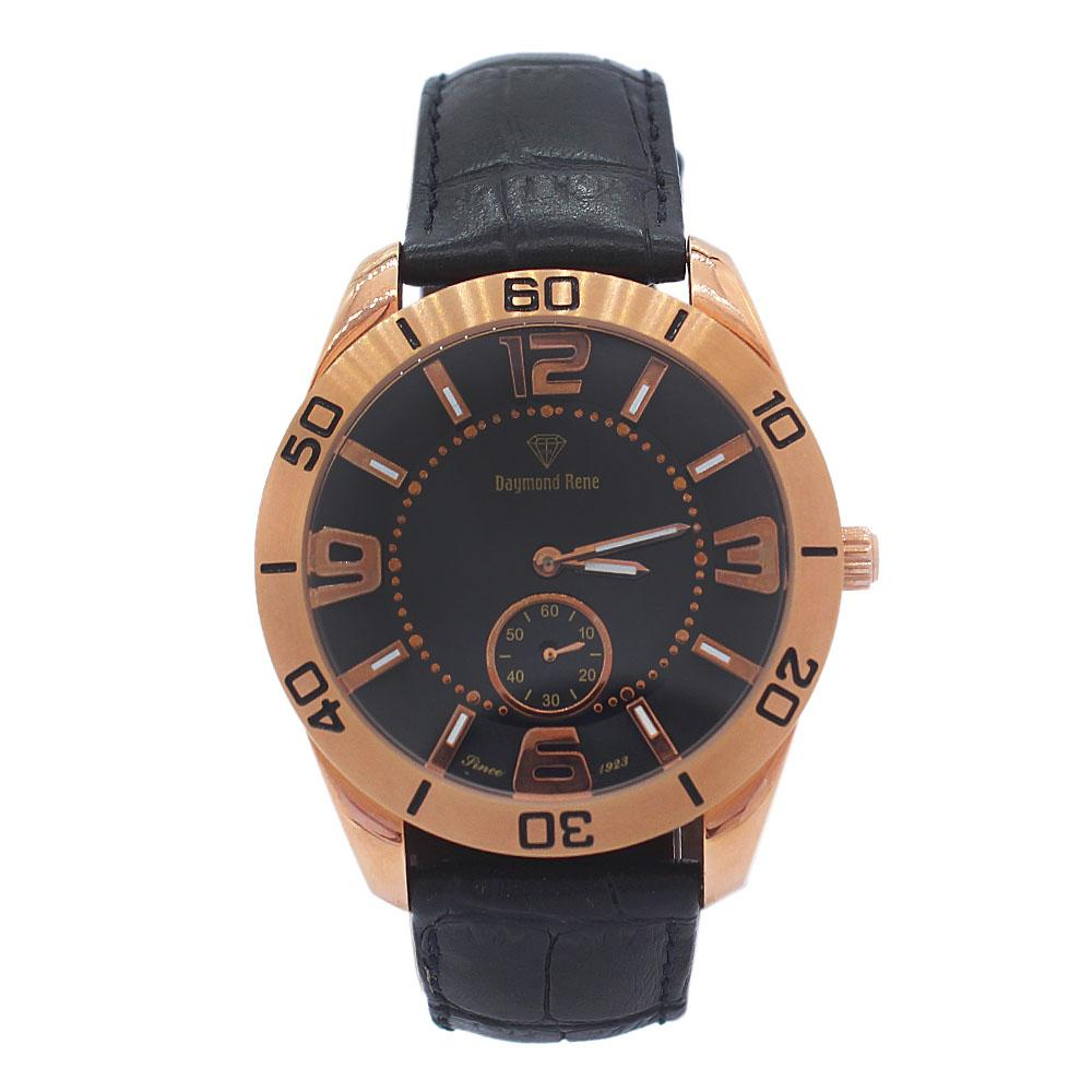 DR 5ATM Rose Gold Iconic Black Leather Ladies Watch