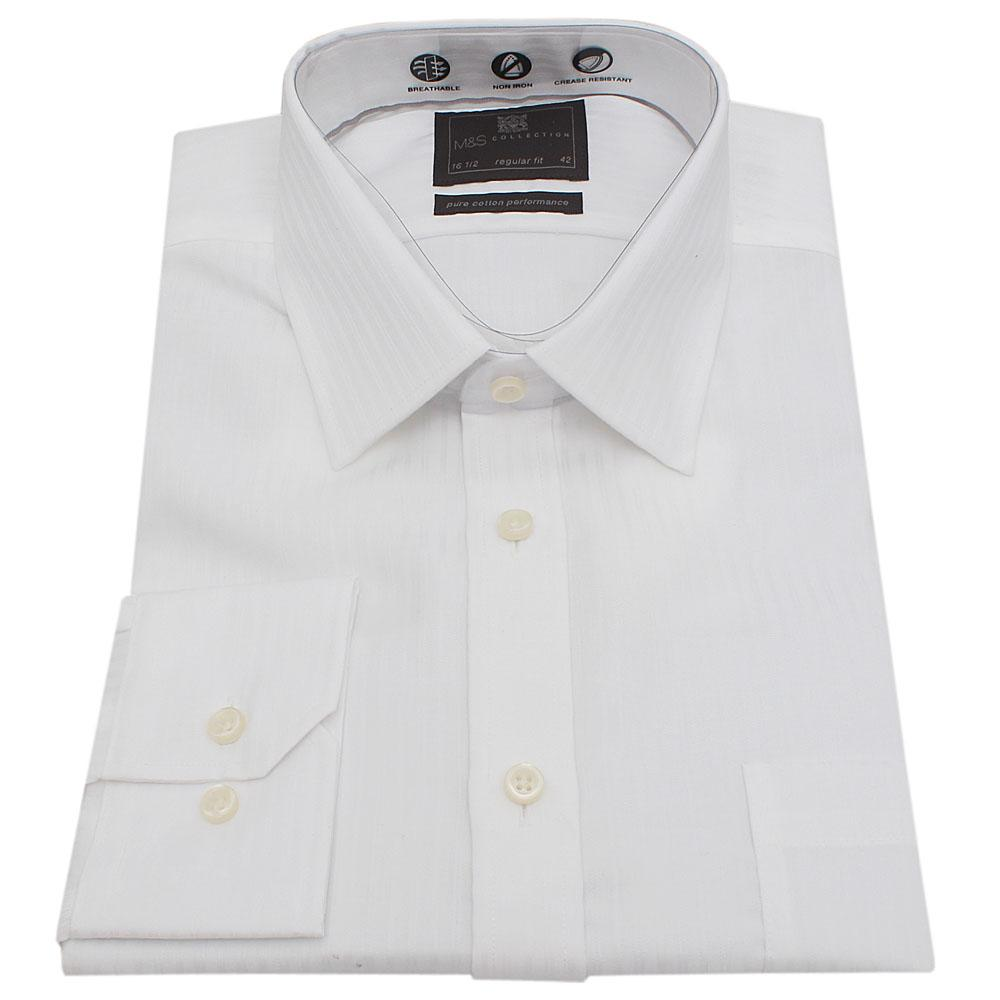 M&S Collection White Regular Fit Men L/Sleeve Shirt