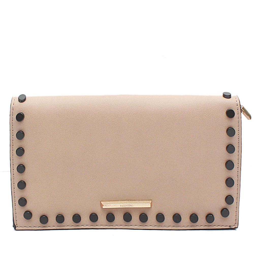 Khaki Tamaline Stud Leather Flat Clutch Purse