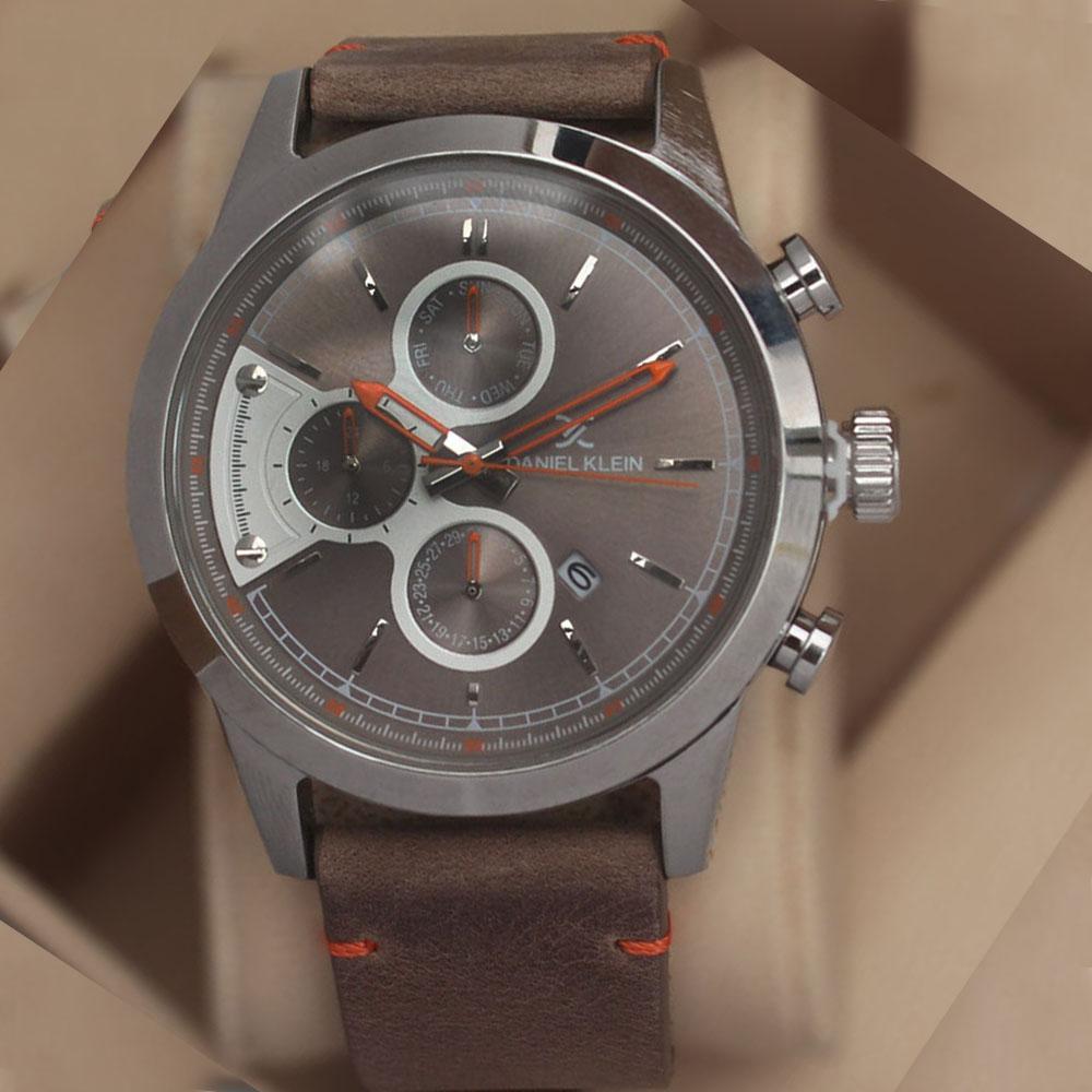Daniel Klein Swarwoski Khaki Leather Watch