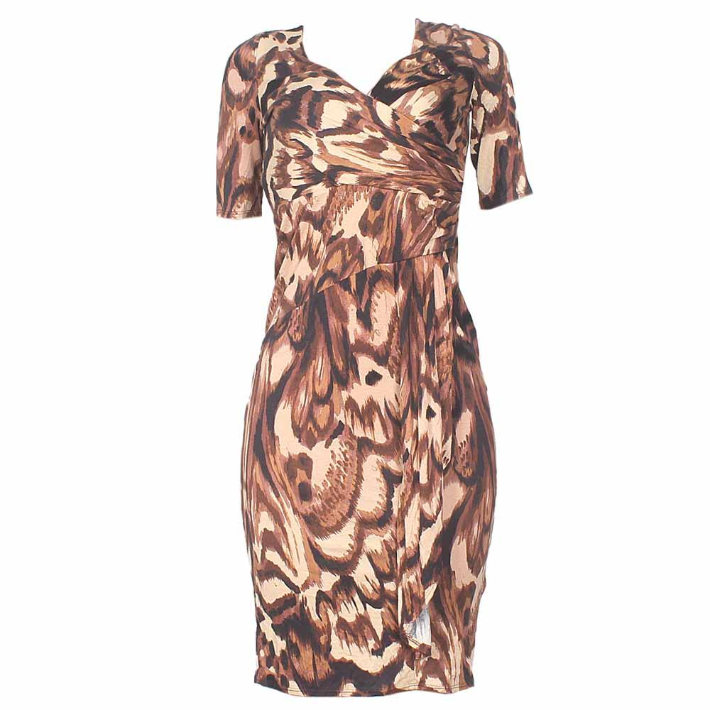 Peruna Brown Animal Print Ladies Dress-Uk 8