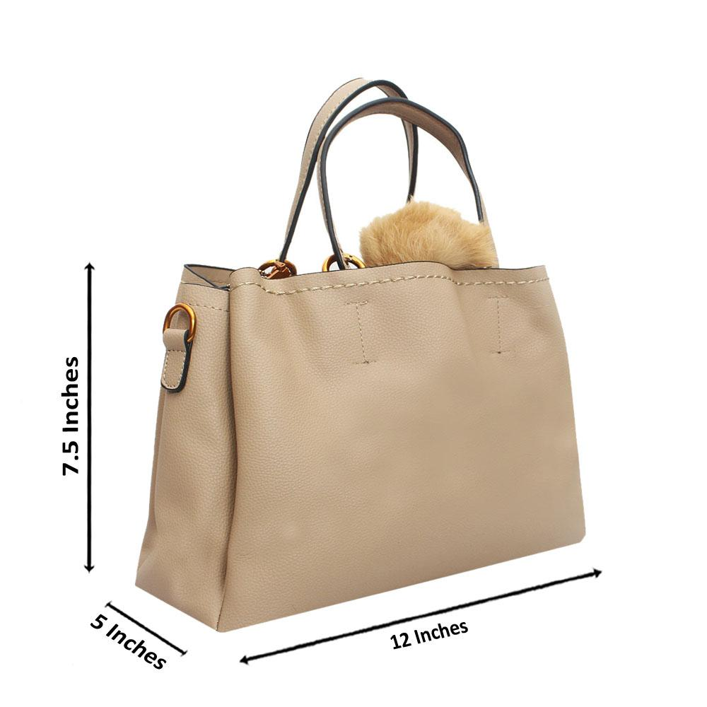 Khaki Leather Medium Focus Baby Tote Handbag