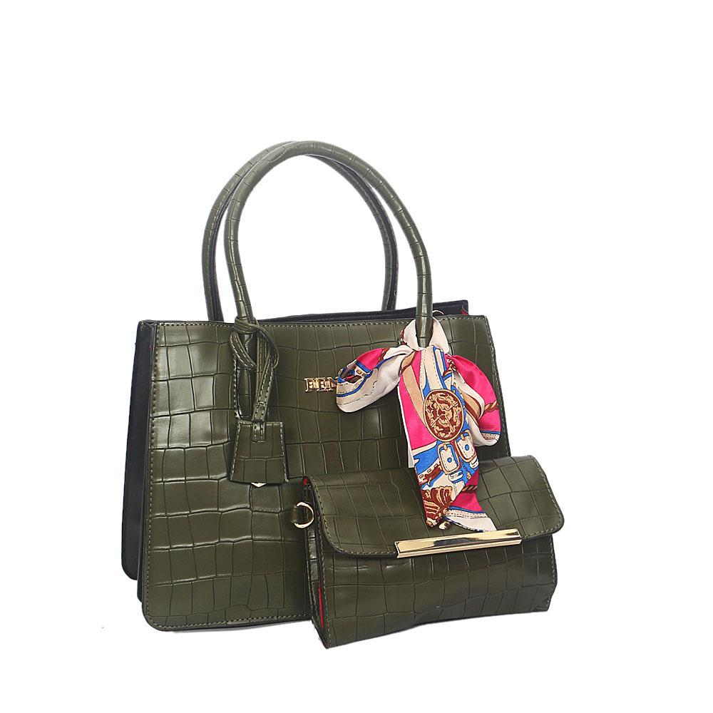 Green Smooth Lover Leather Tote Handbag