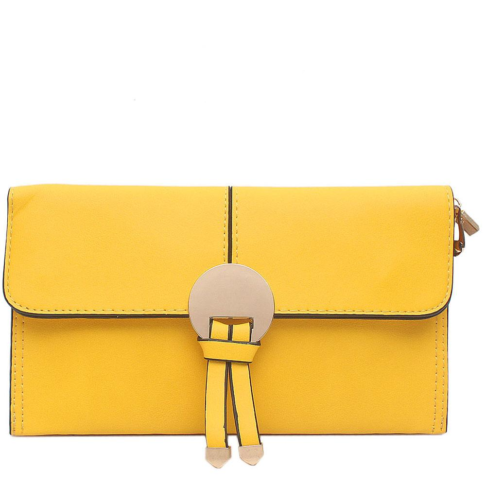 Yellow Leather Flat Clutch