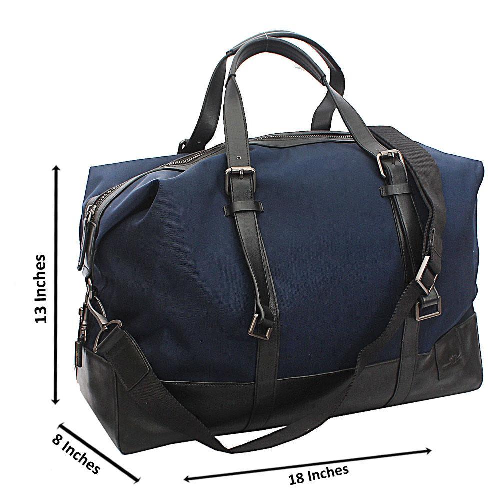 Armaeny Blue Black Smooth Cowhide Leather Duffel Bag