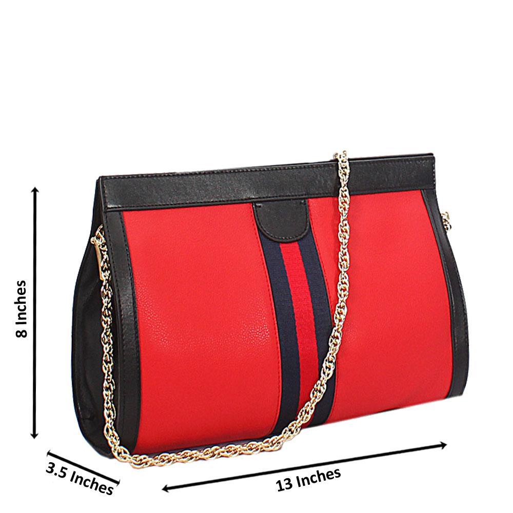 Red Black Ava Italian Leather Shoulder Handbag