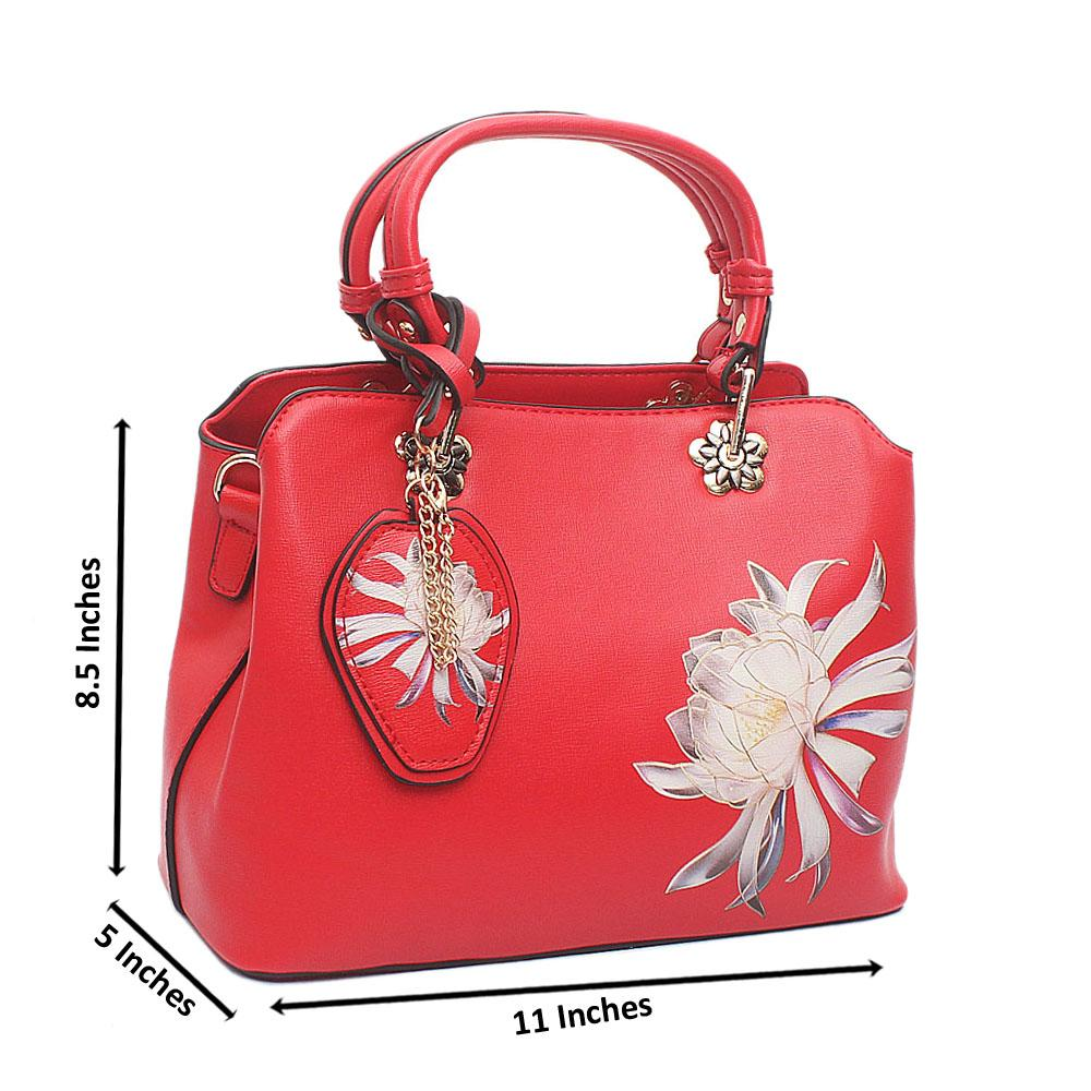 Red Flower Small Leather Handbag