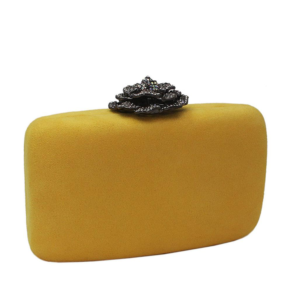 Yellow Suede Rose Studded Clutch Purse