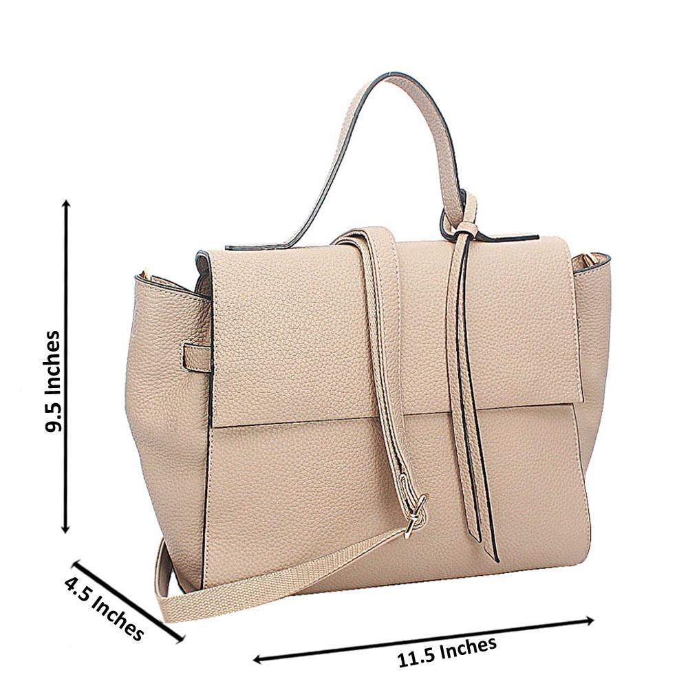 Khaki Leather Medium Woo Tote Handbag