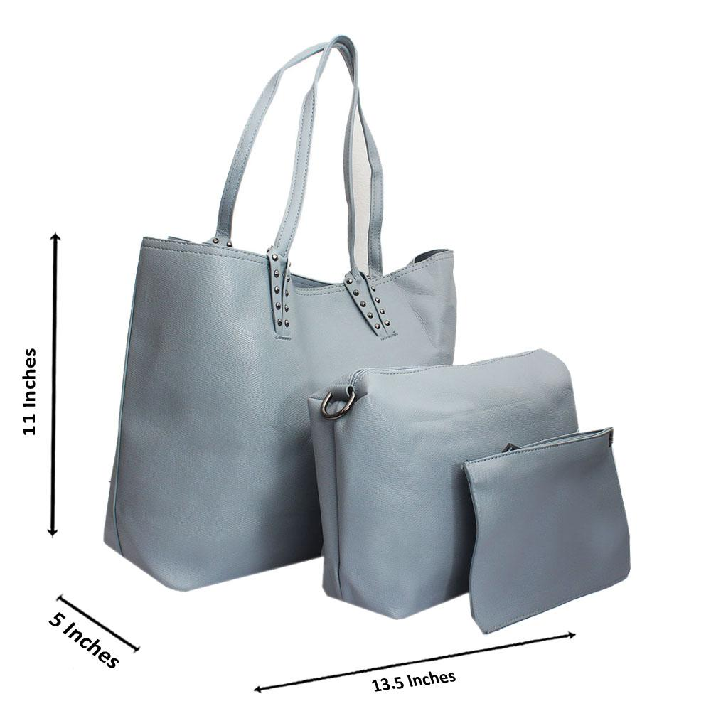 Grey Leather Medium 3 in 1 Handbag