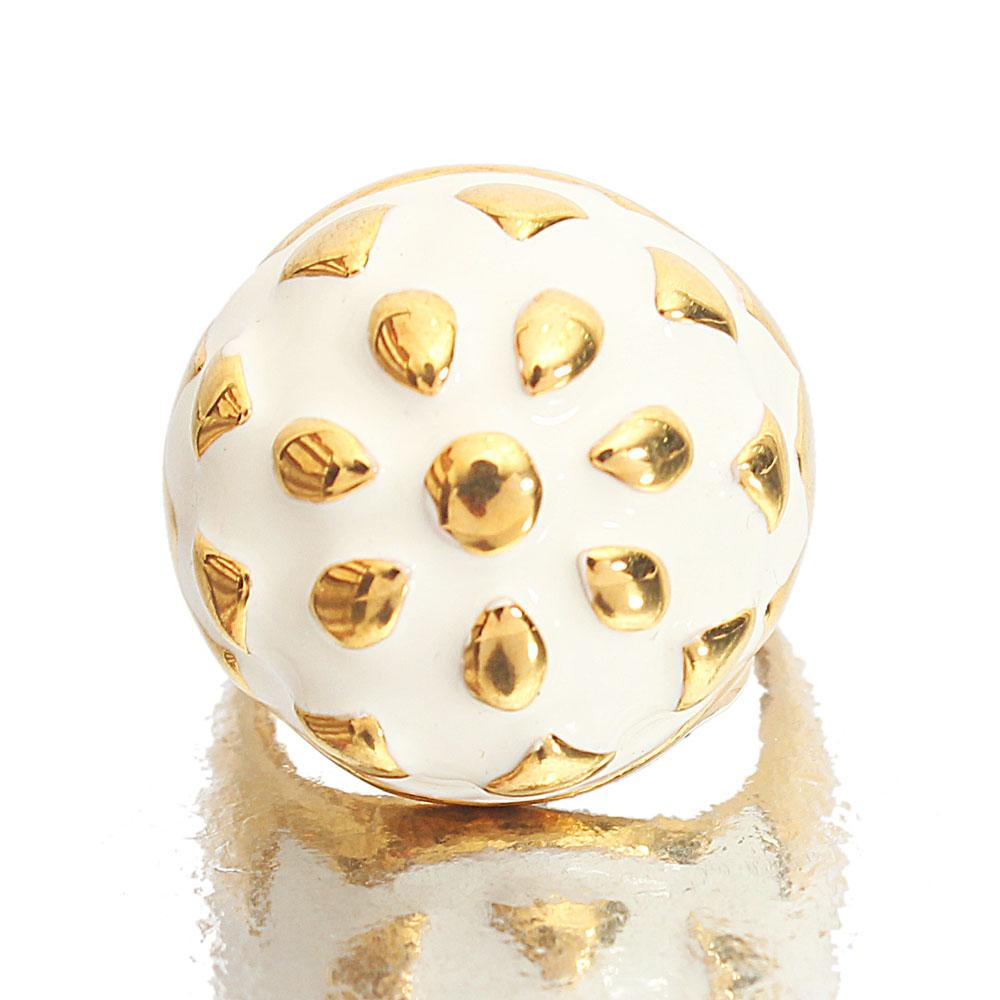 Gold Steel White Classic Ladies Ring