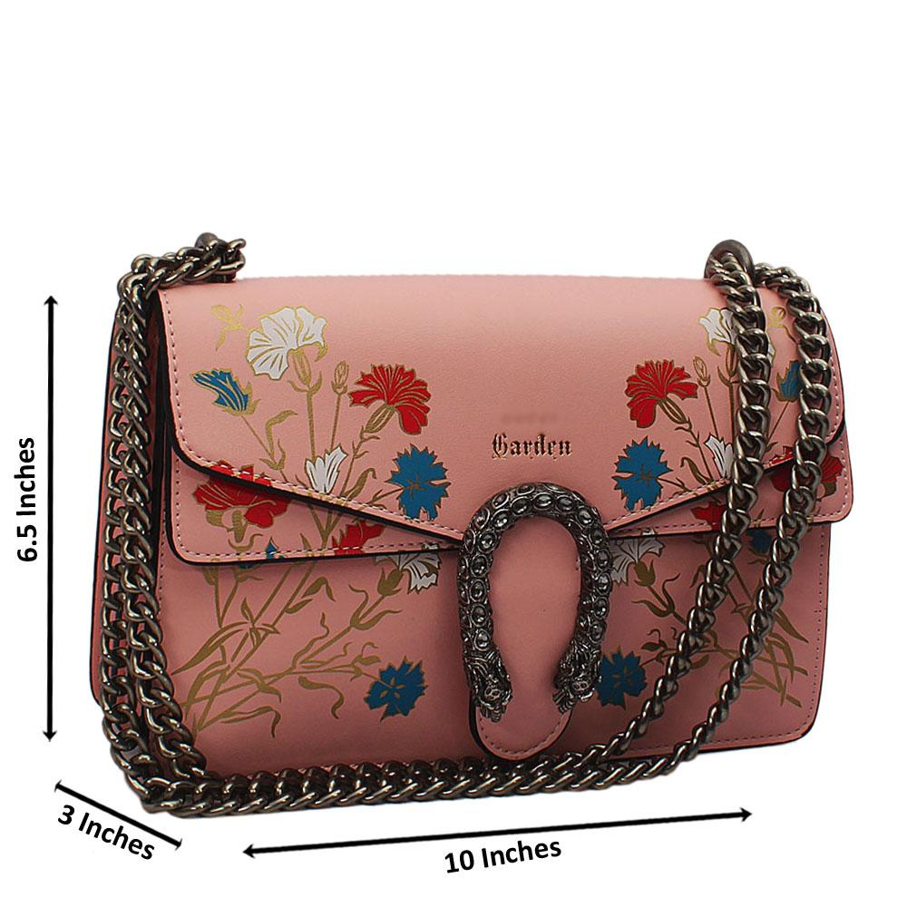 Pink Flora Graphic Print Tuscany Leather Chain Crossbody Handbag