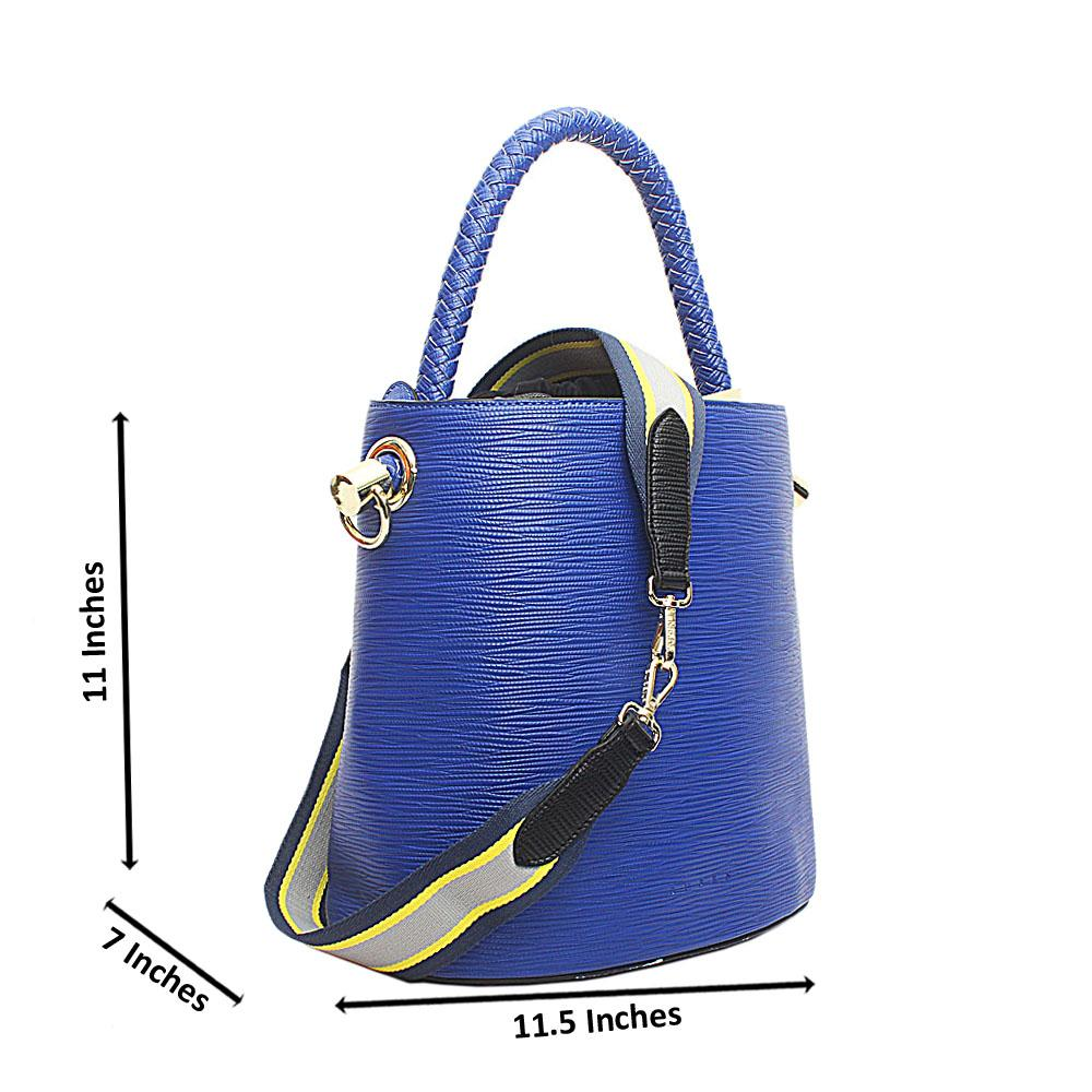 Susen Royal Blue Leather V Classic  Bucket Bag
