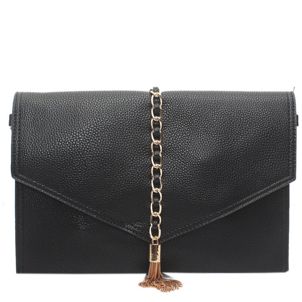 Black Leather Flat Purse Wt Chain Tassel