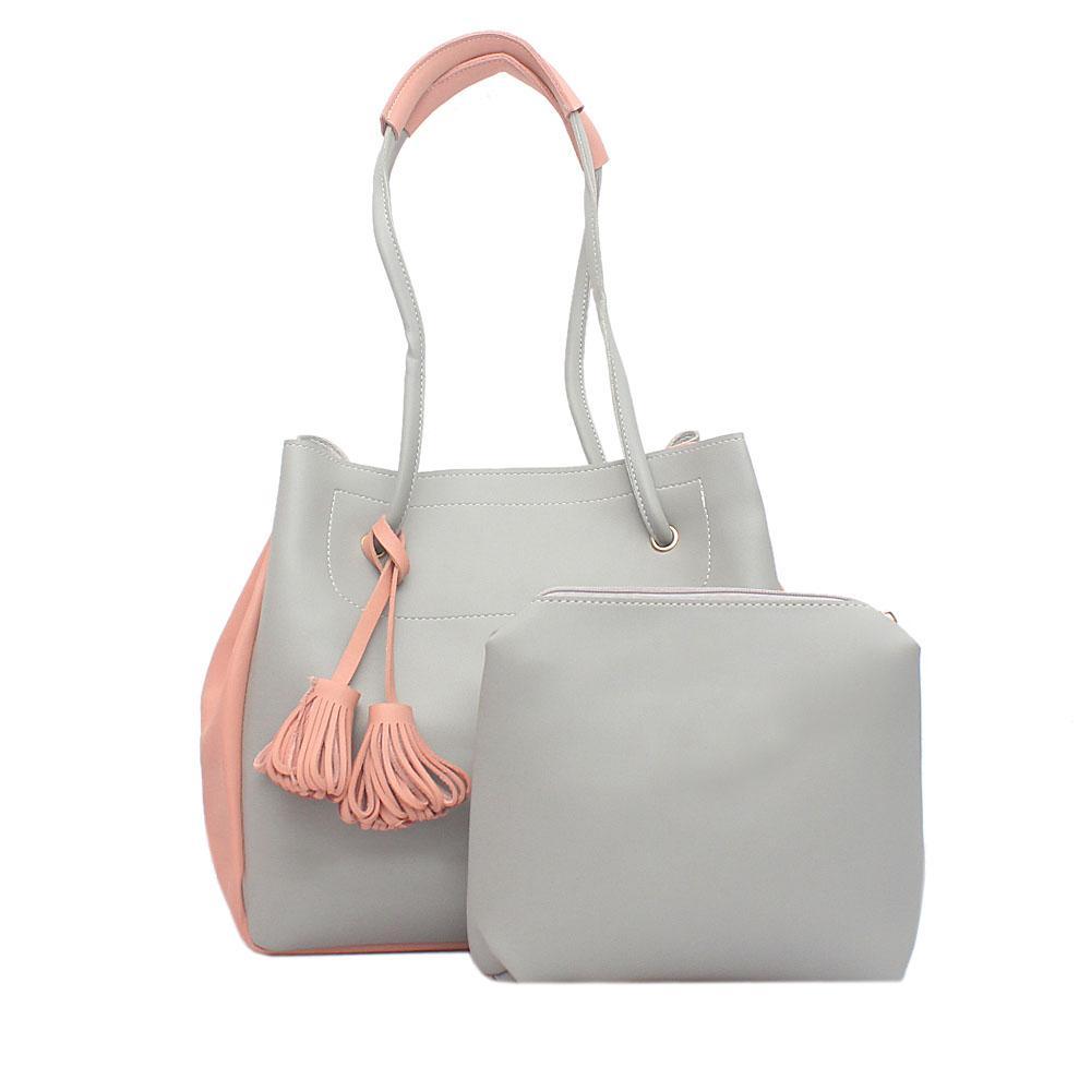 London Style Grey Pink Leather Shoulder Bag