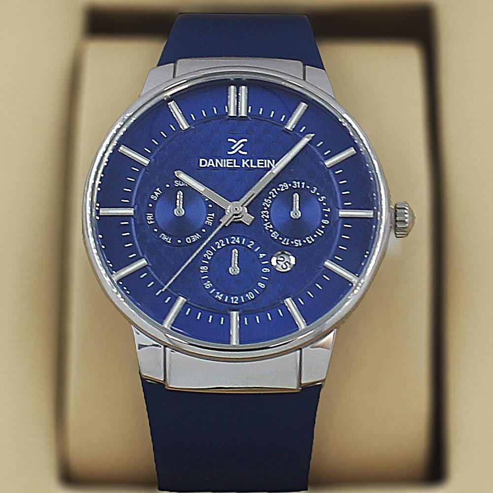 Daniel Klein Santiago  Blue Leather Curve Series Watch