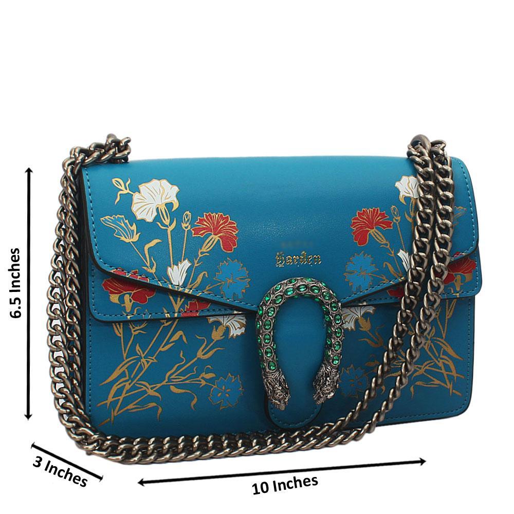 Blue Flora Graphic Print Tuscany Leather Chain Crossbody Handbag