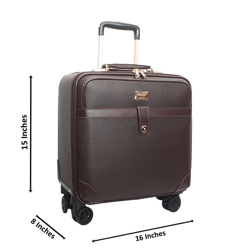 Brown Classic Leather 16 Inch Pilot Leather Suitcase Wt Padlock