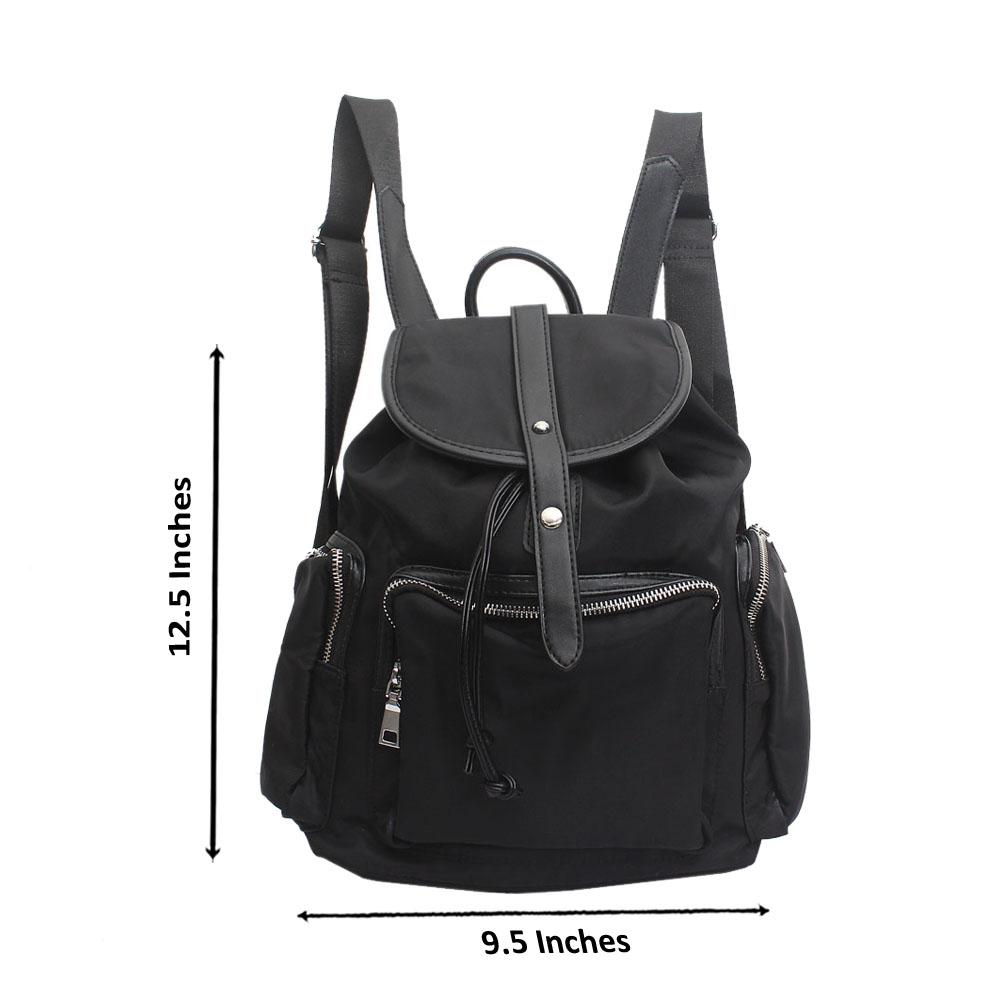 Black Fabric Leather Lander Backpack
