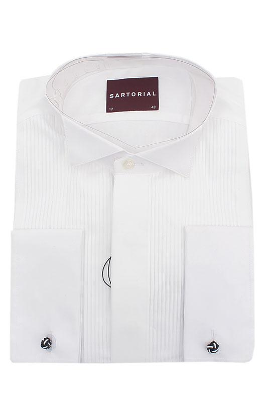 Sartorial White Cotton L/Sleeve Men Shirt Wt Double Cuffs