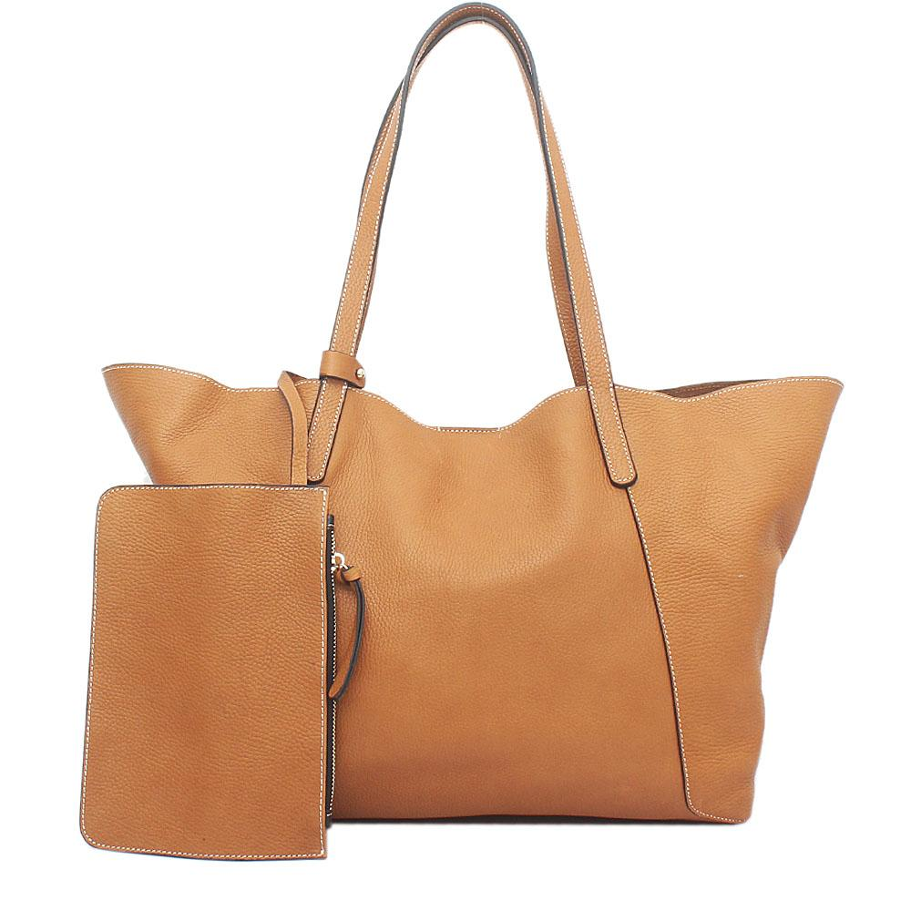 London Style Camel Brown Saffiano Leather Tote Bag