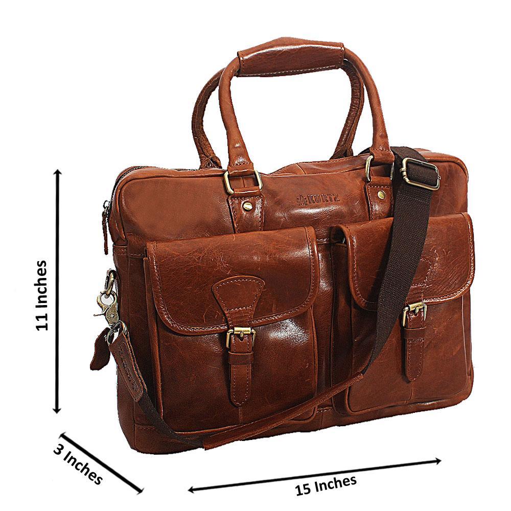 Brown Kurtz Double Pocket Vintage Leather Briefcase