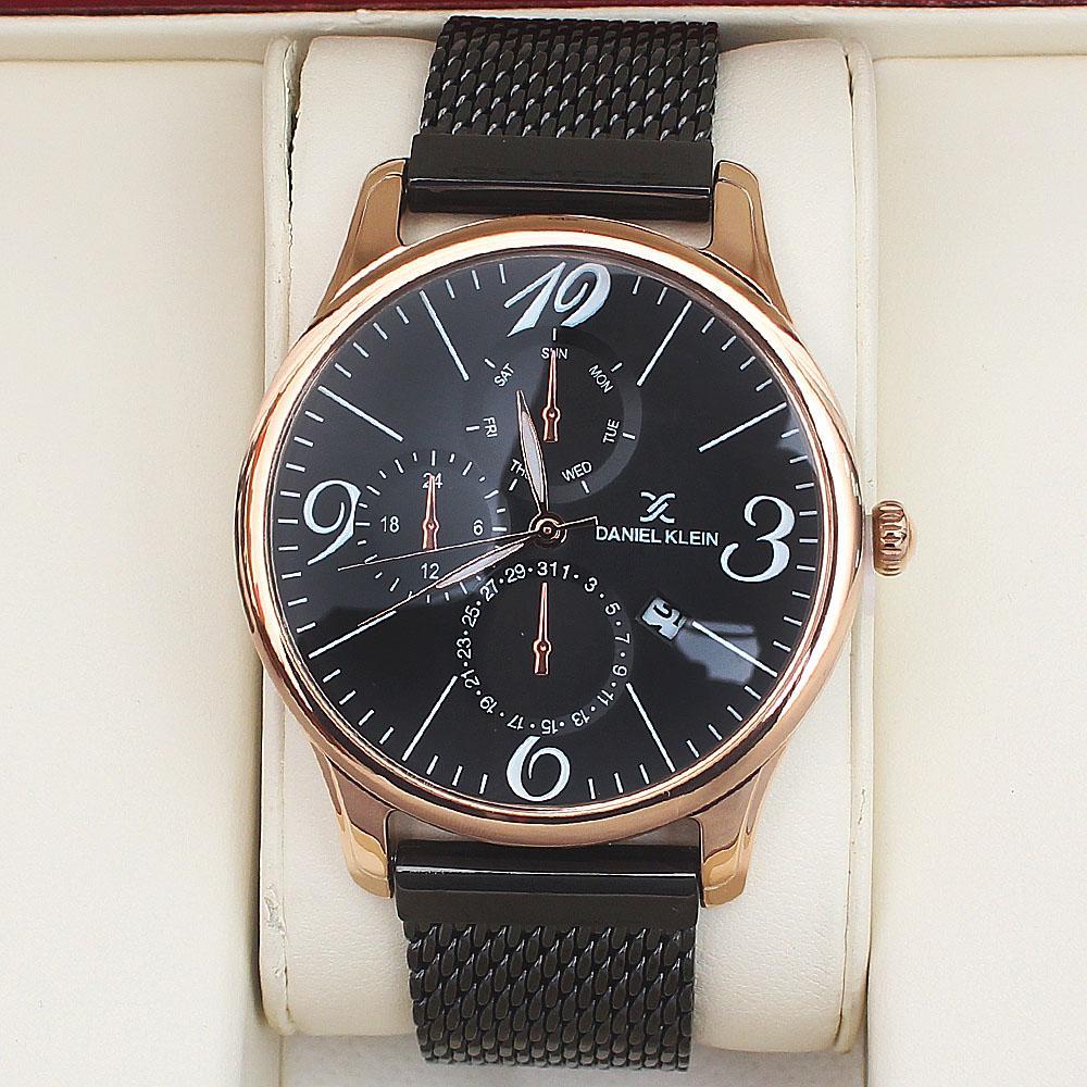 Daniel Klein Black Mesh Fashion Gold Watch