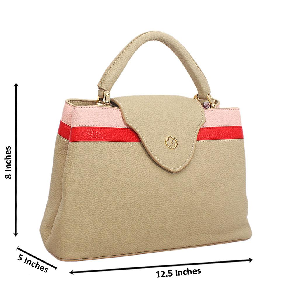 Cream Mix Cowhide Leather Top Handle Handbag