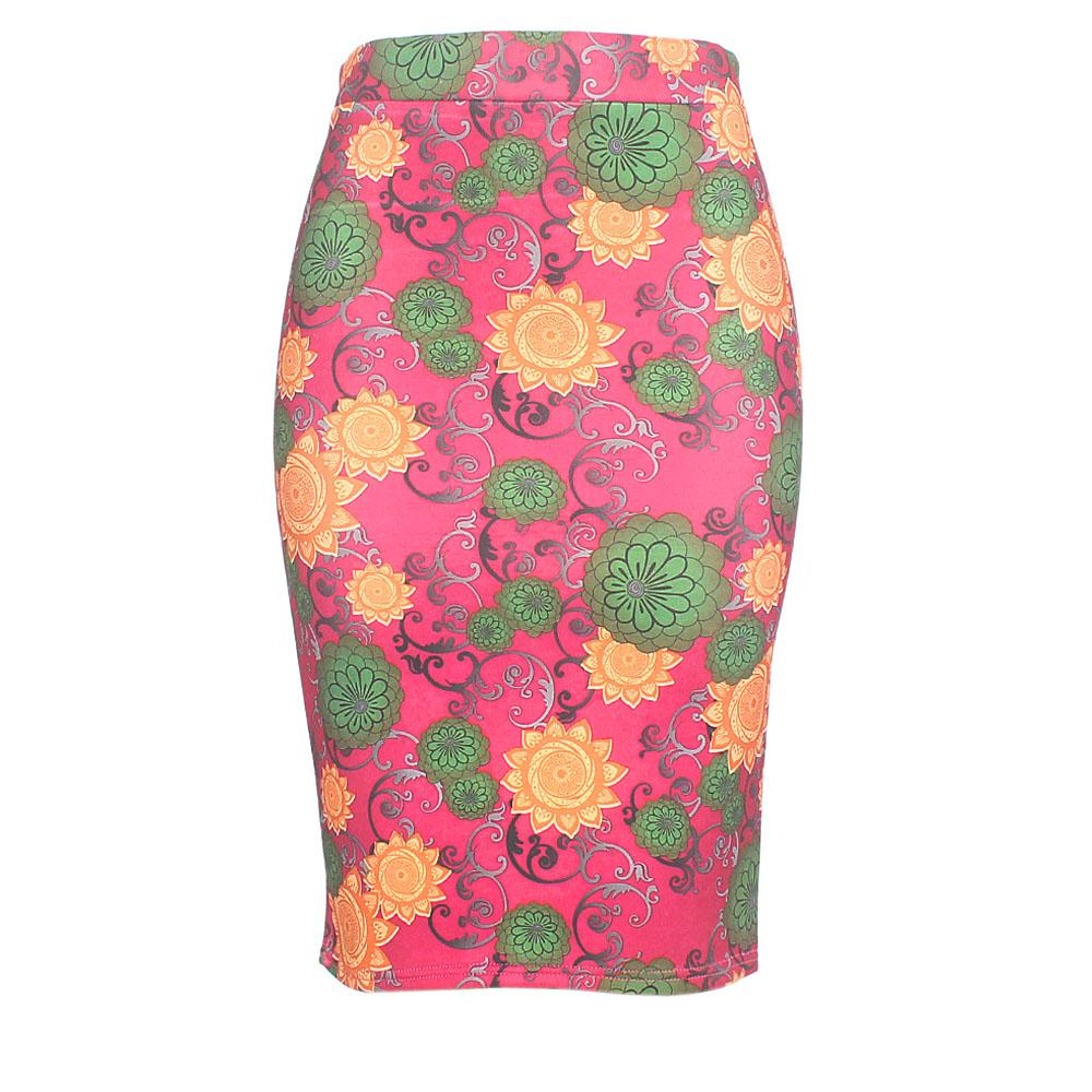 Wine Floral Print Cotton Stretch Skirt