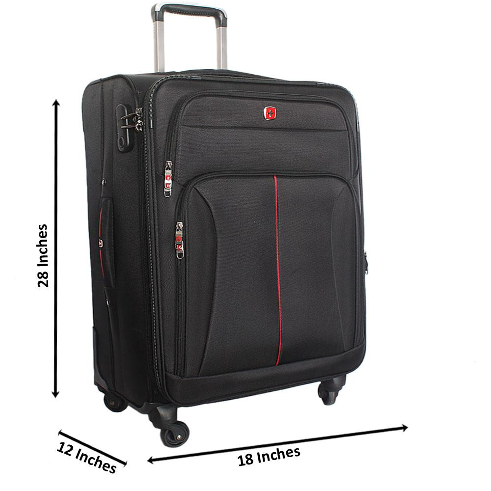 Saint Black 28 Inch Fabric 4 Wheels Spinners Large Suitcase