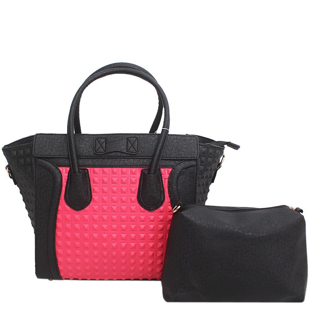 Pink Black Leather Phantom Bag Wt Purse