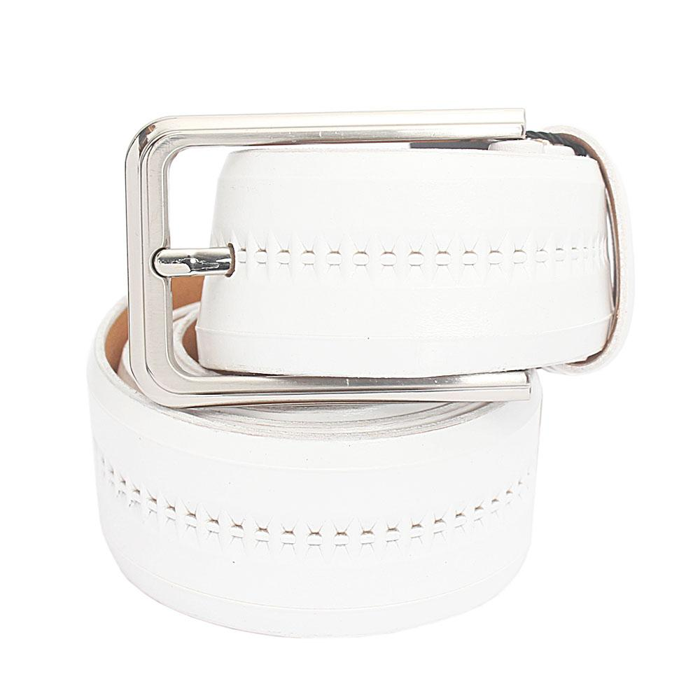 White Italian Leather Flat Belt L 40 Inches