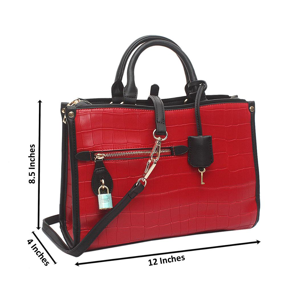 Red Medium Popincourt Croc Zen-Leather Bag