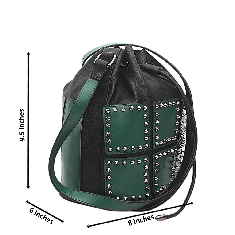 London-Style-Black-Green-Leather-Bucket-Bag