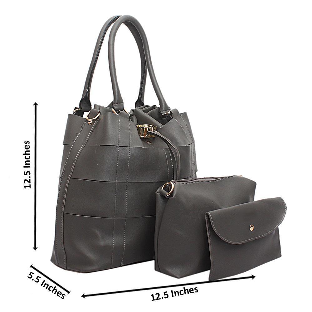 Grey Leather 3 in 1 Handbag