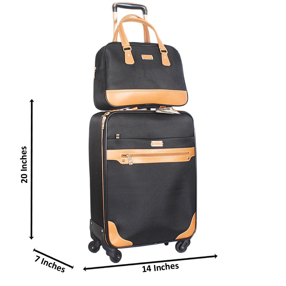 Black Brown Cordura 20 Inch Fabric 2 in 1 Carry On Luggage Wt Lock