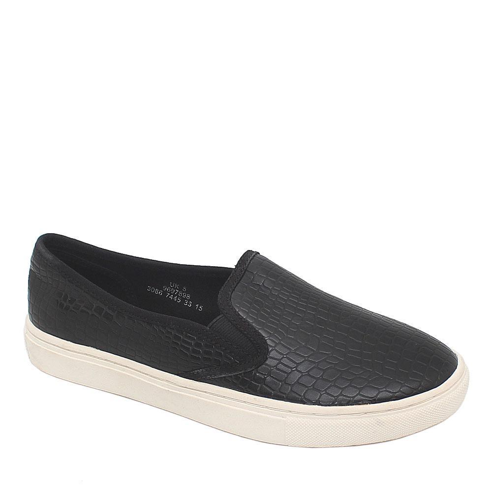 M & S Black Leather Ladies Sneakers Sz 38