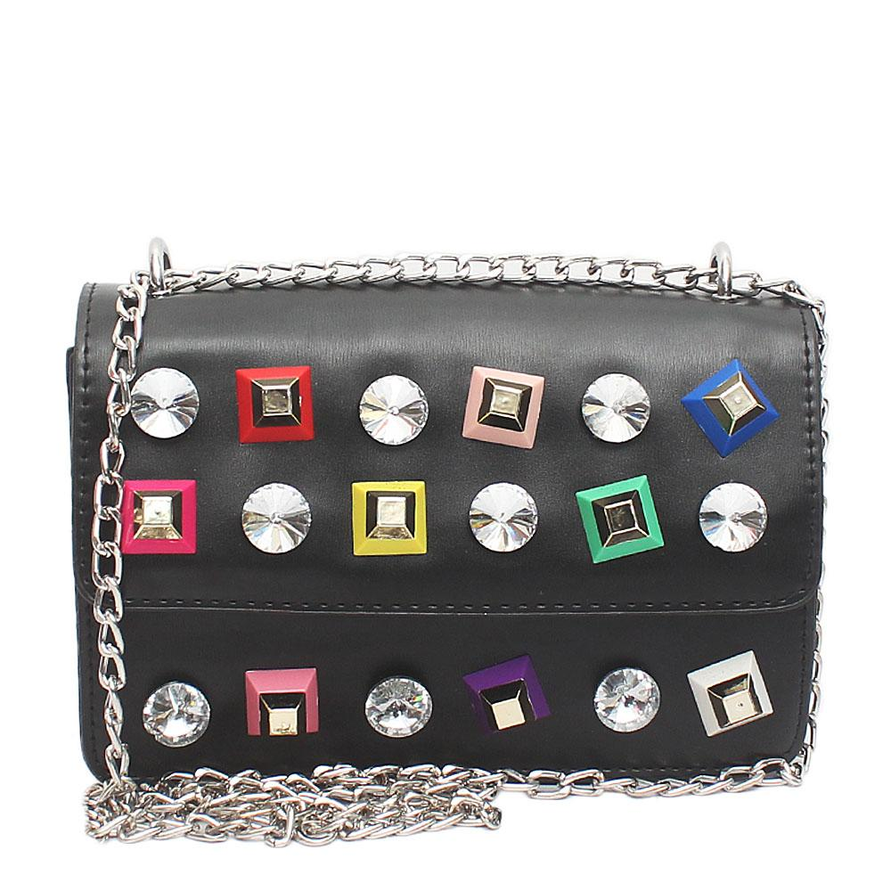 Queen Black Leather Studded Mini Bag