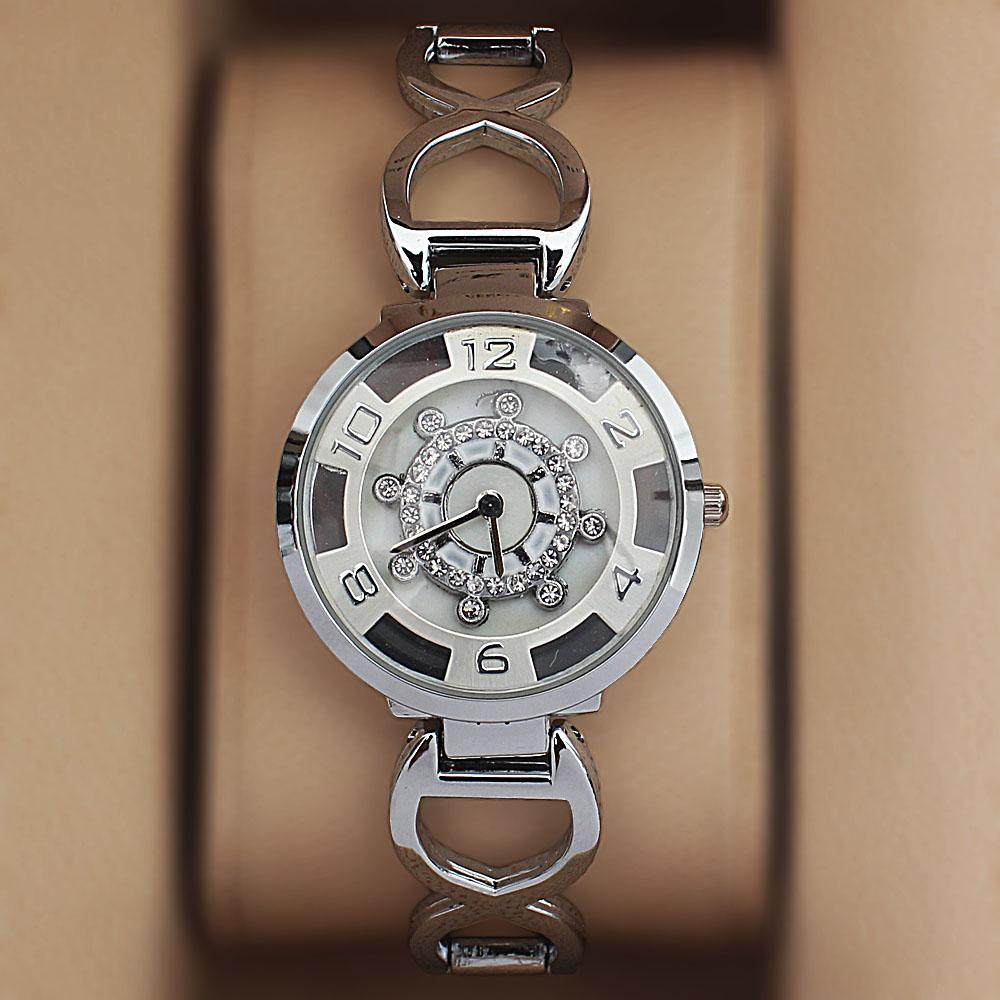 Silver Steel Spinners Ladies Watch