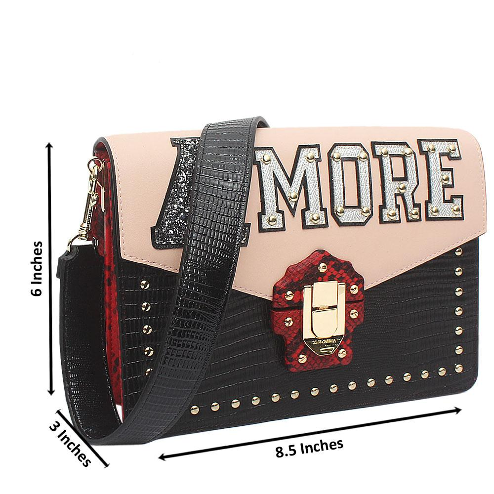 Amore Multicolor Croc Montana Leather Crossbody Bag