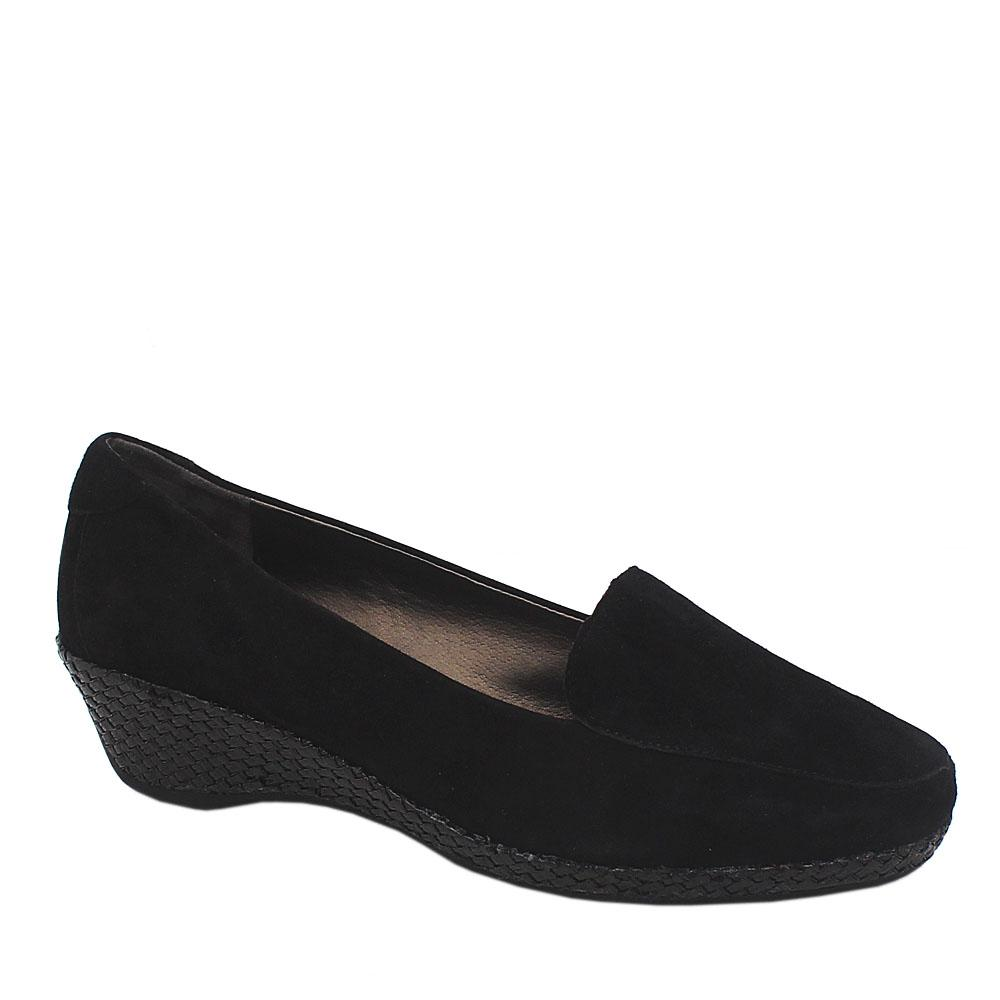 Footglove Black Suede Leather Ladies Wedge Shoe