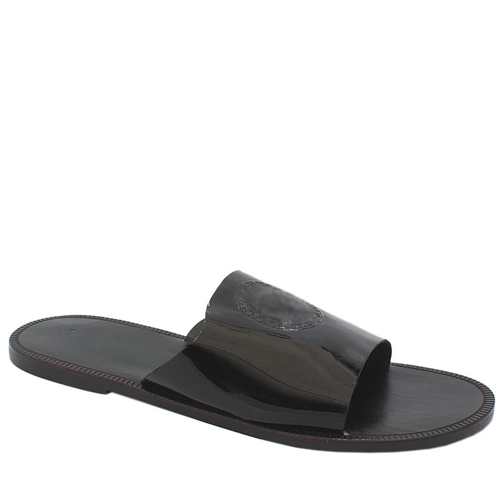 Black Patent Italian Leather Men Slippers
