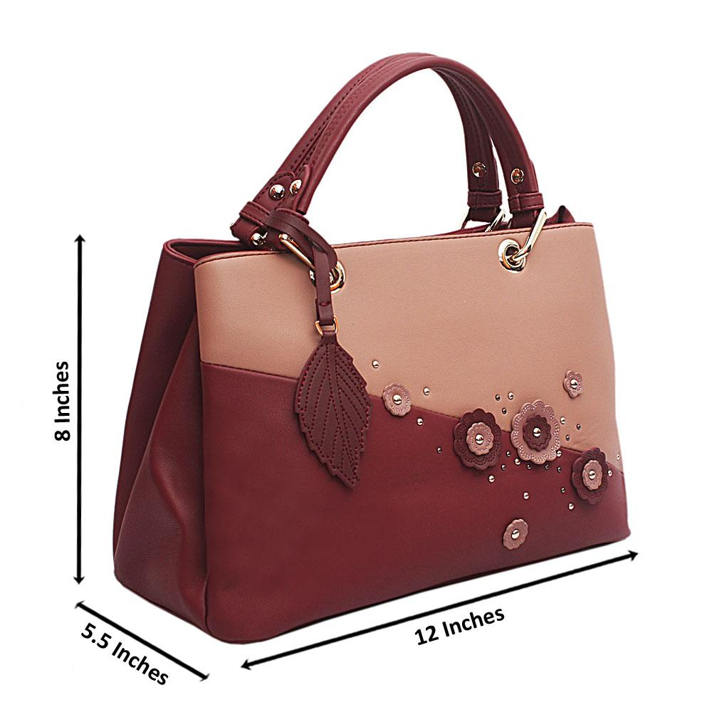 Susen Wine Pink Floral Studded Leather Handbag