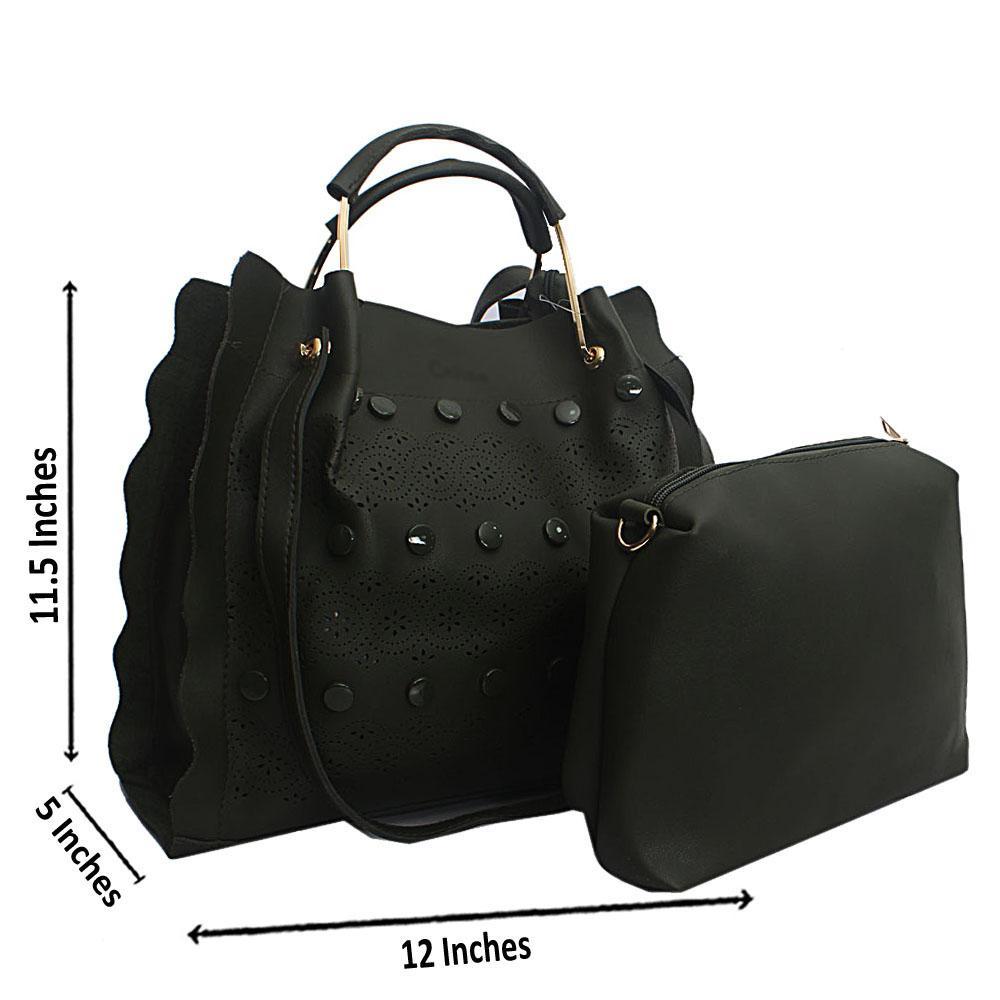 Green Eva Etched Leather Handbag