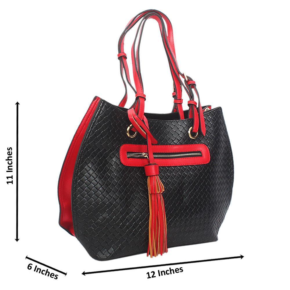 Black Red Woven Style Leather Shoulder Handbag