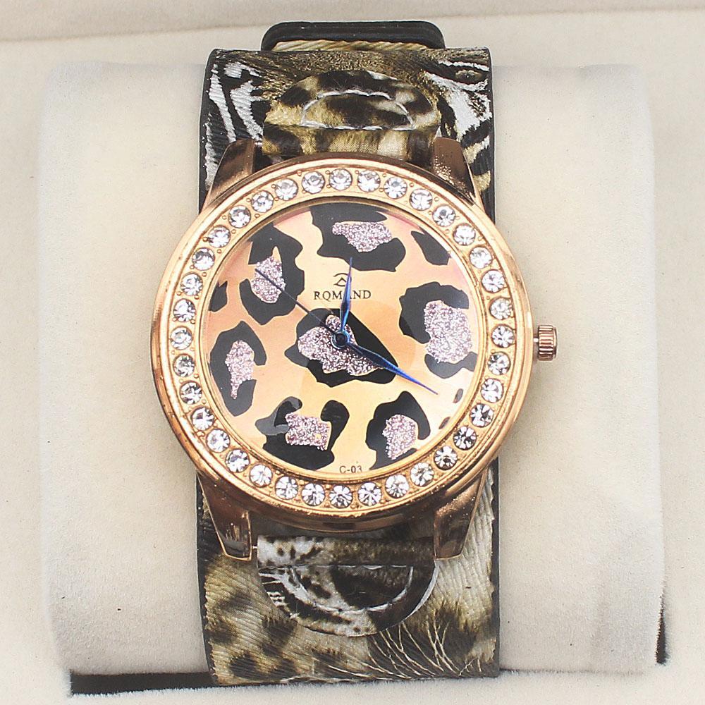 Rqmand Animal Print Studded Leather Ladies Watch
